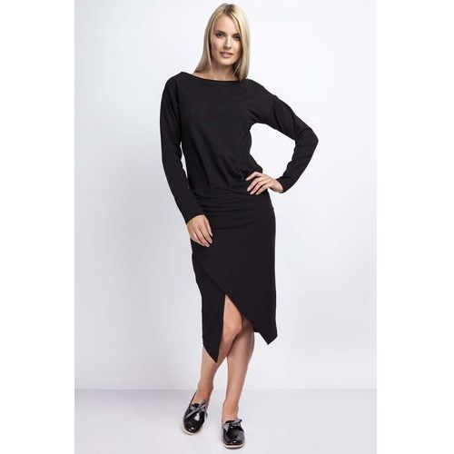 Czarna Casualowa Midi Sukienka z Kopertowym Dołem, NA177bl