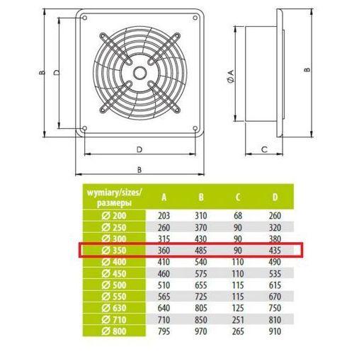 Airroxy Ścienny wentylator wyciągowy przemysłowy średnice od 200 do 630 mm bardzo wydajny arok średnice: 350