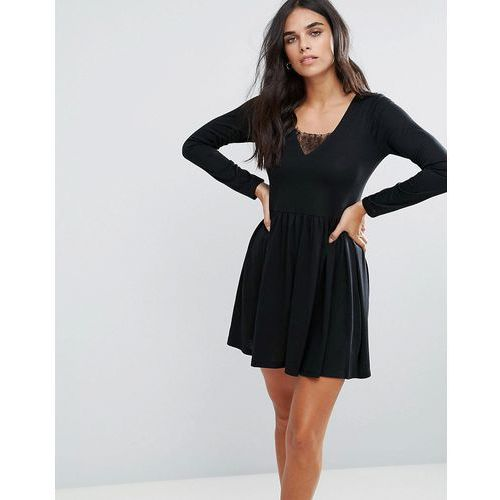 Brave Soul Stephens Long Sleeve Dress With Lace Insert - Black, w 2 rozmiarach