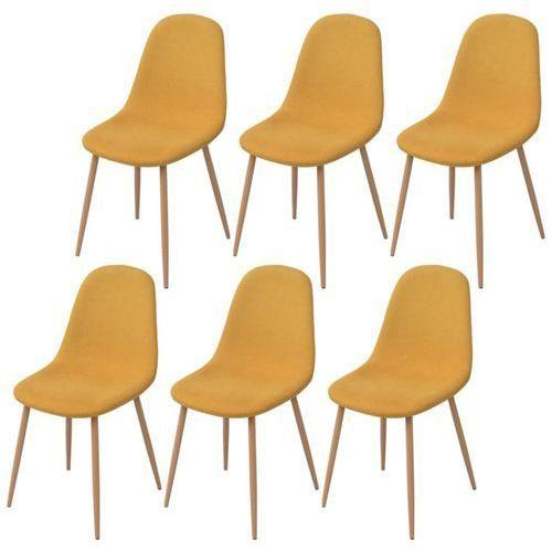 Vidaxl krzesło do jadalni 6 szt., tkanina, żółta