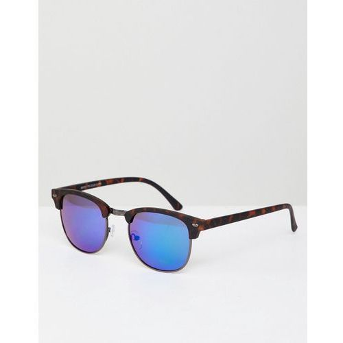 New Look Square Sunglasses With Mirrored Lens In Tort - Blue, kolor niebieski