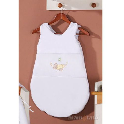 śpiworek haftowany miś w hamaku w bieli marki Mamo-tato
