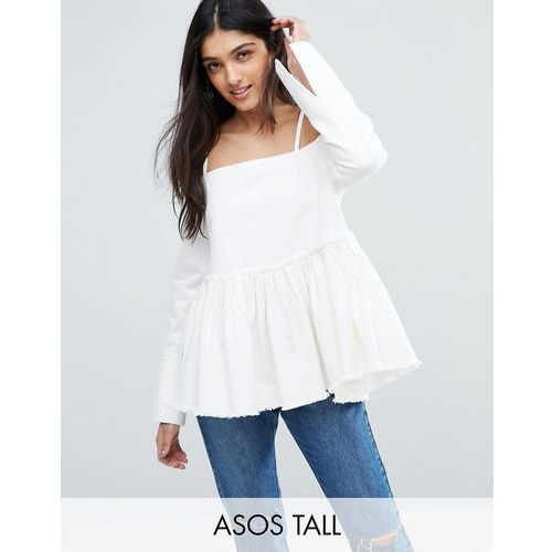 Asos tall  denim cold shoulder top with pleated peplum and cuff detail - white