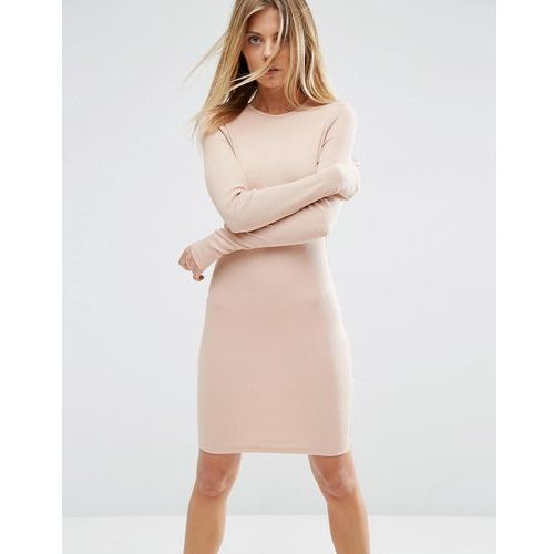 ASOS Mini Bodycon Dress in Rib with Long Sleeves - Pink