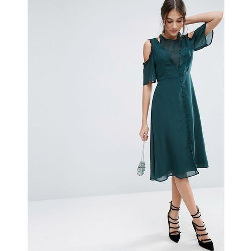 ASOS Cold Shoulder Midi Lace Dress with Rouleau Detail - Green