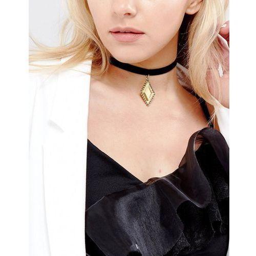 Vanessa Mooney Velvet Choker With Gold Plated Chaim - Black