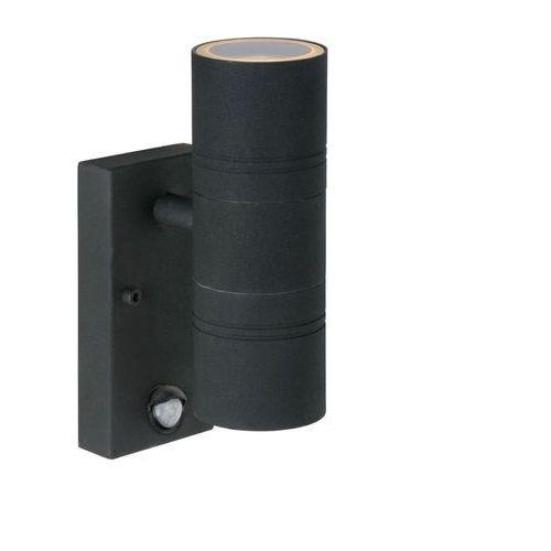 Arne - kinkiet zewnętrzny czujnik czarny podwójne światło wys.22,5cm marki Lucide