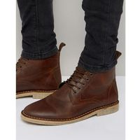 desert boots in tan leather with suede detail - tan marki Asos