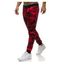 Spodnie męskie dresowe joggery moro-czerwone Denley KK06, kolor czerwony