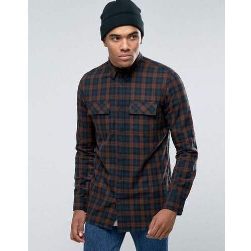 New look  check shirt with double pockets in regular fit - grey