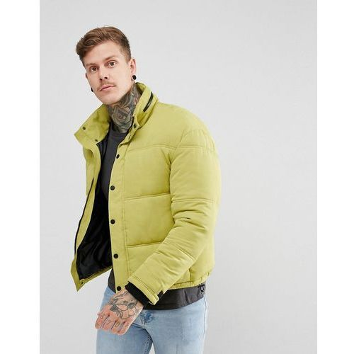 New look cropped puffer jacket with concealed hood in lime green - green