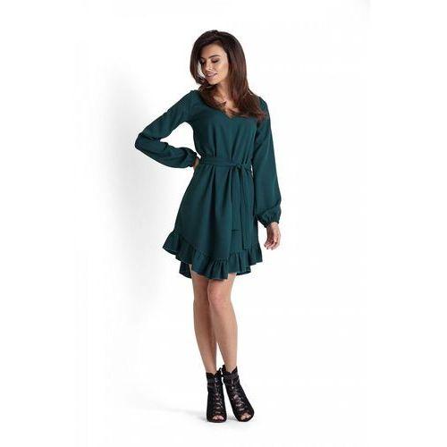 e76a4027d1 Romantyczna Zielona Zwiewna Sukienka z F..