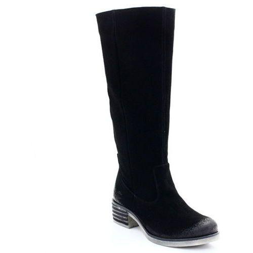 701090 czarny - welurowe kozaki z nieocieplaną cholewką - czarny, Blu
