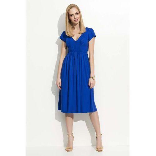 5bd24d6487 Chabrowa sukienka midi z marszczeniami marki Makadamia