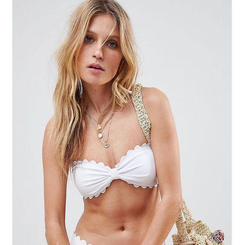 South Beach Mix & Match Exclusive scallop edge bandeau bikini top in white - White
