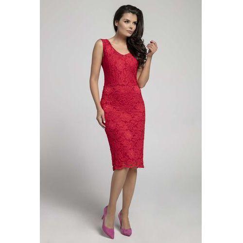 Czerwona Dopasowana Sukienka Koronkowa bez Rękawów, w 6 rozmiarach