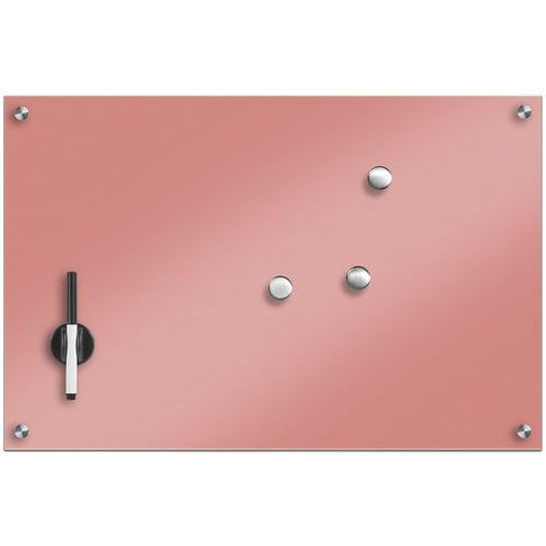 Szklana tablica magnetyczna, pudrowy różowy + 3 magnesy, 60x40 cm, ZELLER