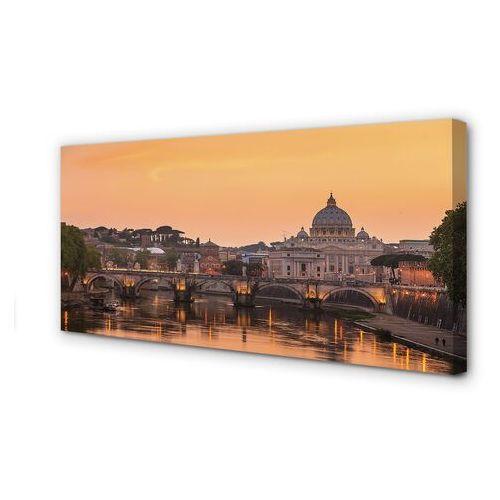 Obrazy na płótnie rzym zachód słońca mosty rzeka budynki marki Tulup.pl