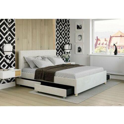Łóżko 140x200 tapicerowane monza + 4 szuflady welur beżowe marki Big meble