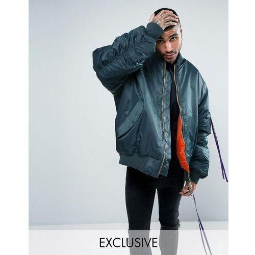 Reclaimed vintage  inspired super oversized bomber jacket in blue with taping - blue