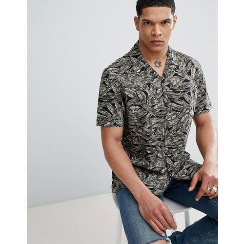 Antony Morato Revere Collar Short Sleeve Shirt In Black With Leaf Print - Green, w 5 rozmiarach