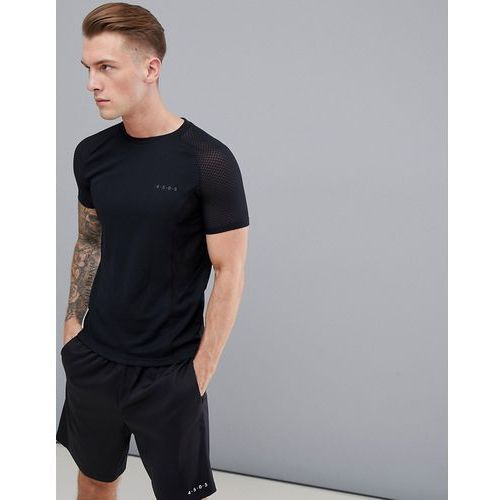 Asos 4505 muscle t-shirt with breathable mesh cut & sew - black
