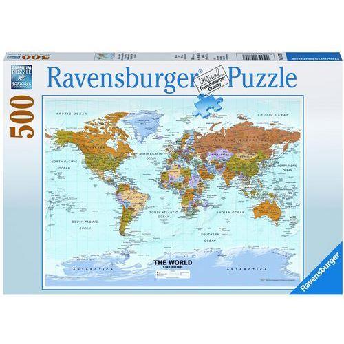 Puzzle 500 Polityczna mapa świata - Ravensburger, RDVR 14755