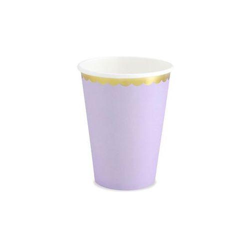 Party deco Kubeczki liliowe ze złotym brzegiem - 220 ml - 6 szt. (5902230795525)