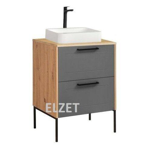 Comad szafka madera grey 60 2s dąb artisan/grafit pod umywalkę nablatową + blat 60 dąb artisan + nogi madera grey 820 + madera 890 + 881