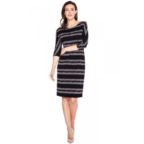 Czarna sukienka w szerokie paski - Vito Vergelis, 1 rozmiar