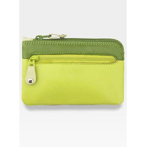 Skórzane damskie etui na klucze  - zielony multi marki Visconti