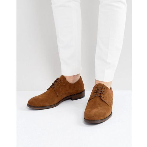 ASOS Lace Up Derby Shoes In Tan Suede With Natural Sole - Tan
