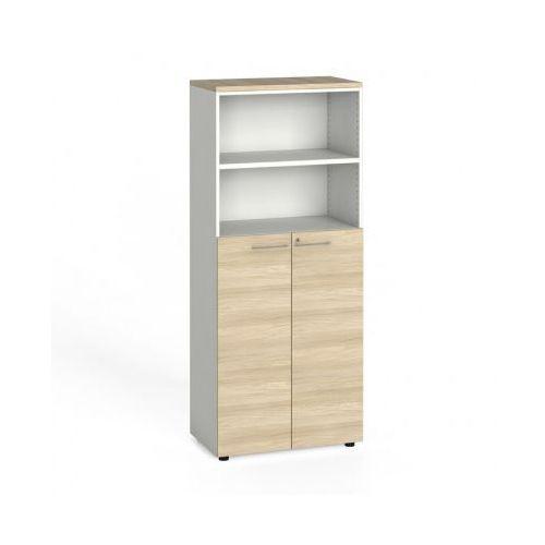 Szafa biurowa, drzwi na 3 półki, 1781x800x420 mm, biały / dąb naturalny