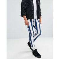 muscle fit jeans in navy and white stripes - white marki Jaded london