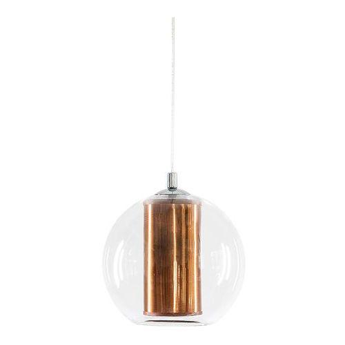 Nowoczesna LAMPA wisząca MERIDA M 10394117 Kaspa szklana OPRAWA abażurowa ZWIS kula ball przezroczysta miedziana (5902047302169)