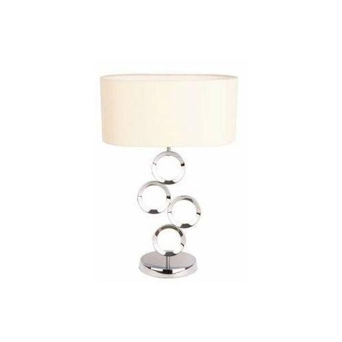 Maxlight Stojąca lampa stołowa olimpic t0034 metalowa lampka abażurowa z pierścieniami chrom ecru (5903351004862)