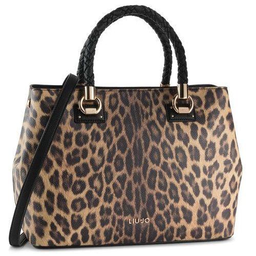 Liu jo Torebka - l satchel double zip a69027 e0419 leopardo marro 03v36
