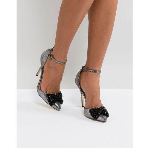 embellished bow pointed heels - grey marki London rebel