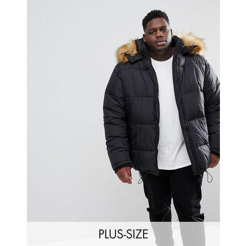 big & tall puffer coat with faux fur trim in black - black, River island