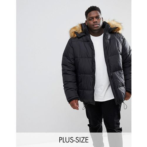 big and tall puffer coat with faux fur trim in black - black, River island