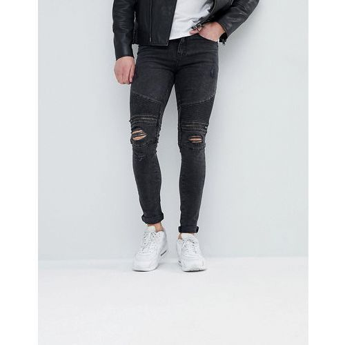 New look super skinny biker jeans with rips in black - black