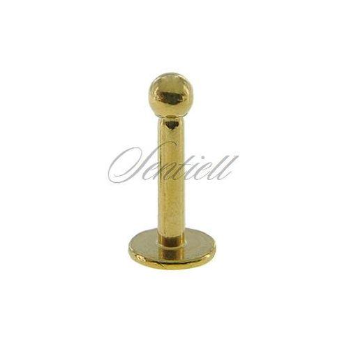 Stalowy (316l) kolczyk labret z kulką - do warg i podbródka - złoty marki Sentiell