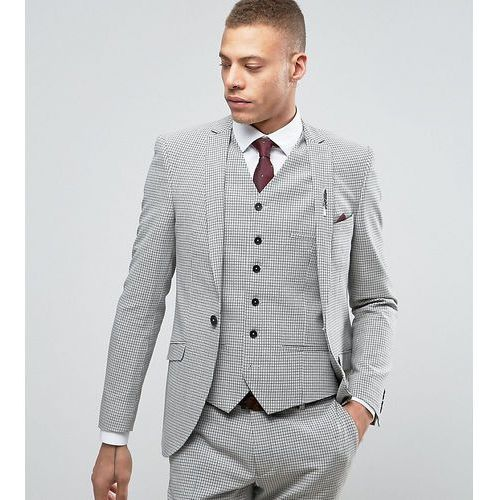 Heart & Dagger Super Skinny Suit Jacket In Summer Dogstooth - Grey