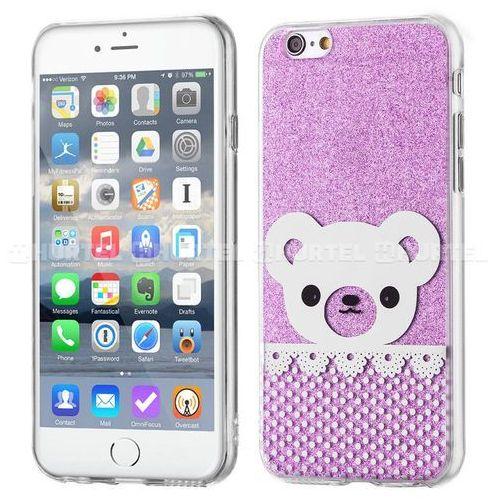 Wozinsky  żelowy pokrowiec shiny case brokat iphone 6s 6 miś fioletowy - fioletowy