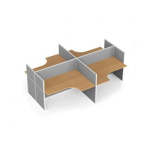 Zestaw parawanów biurowych ze stołem ergonomicznym, tekstylny, 4 miejsca, brzoza marki B2b partner