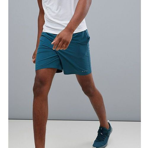 tall training shorts in mid length with quick dry in teal - green, Asos 4505