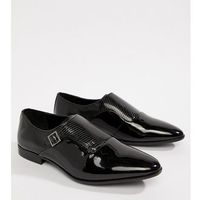 design wide fit monk shoes in black faux leather with emboss detail - black, Asos