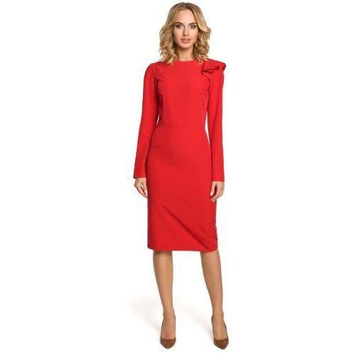Czerwona sukienka elegancka ołówkowa z falbankami na ramieniu marki Moe