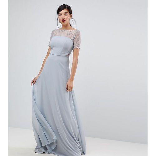 ASOS TALL Lace Insert Panelled Maxi Dress - Grey, kolor szary