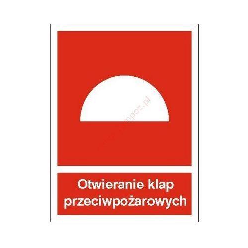 Znak Otwieranie klap przeciwpożarowych PB, kup u jednego z partnerów